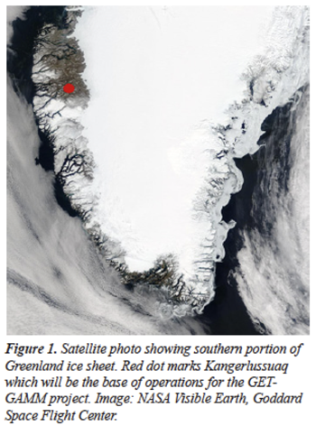 Figure 1. Satellite photo showing southern portion of Greenland ice sheet.