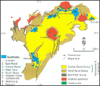 Fig. 1. Geological map of the Witwatersrand Basin