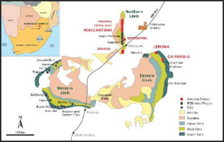 Fig. 2. Geological map of the 2.0 Ga Bushveld Igneous Complex