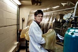 Onstott keeps a sealed workspace in his lab at high temperature and free of oxygen- just like home for the bacteria he studies